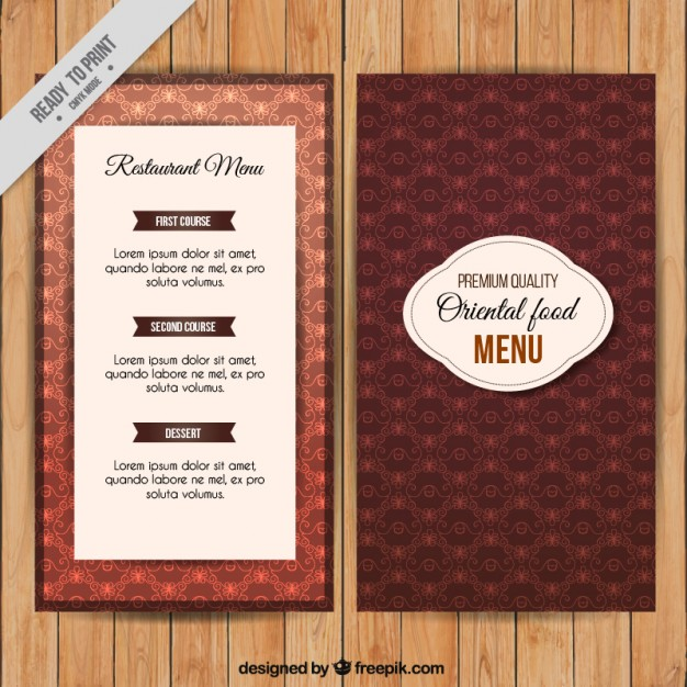 Oriental food menu template free vectors UI Download - food menu template