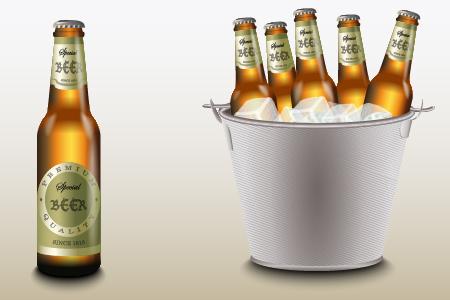 Beer bottle with ice vector free vectors UI Download