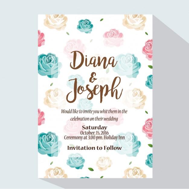 Coloured wedding invitation design free vectors UI Download