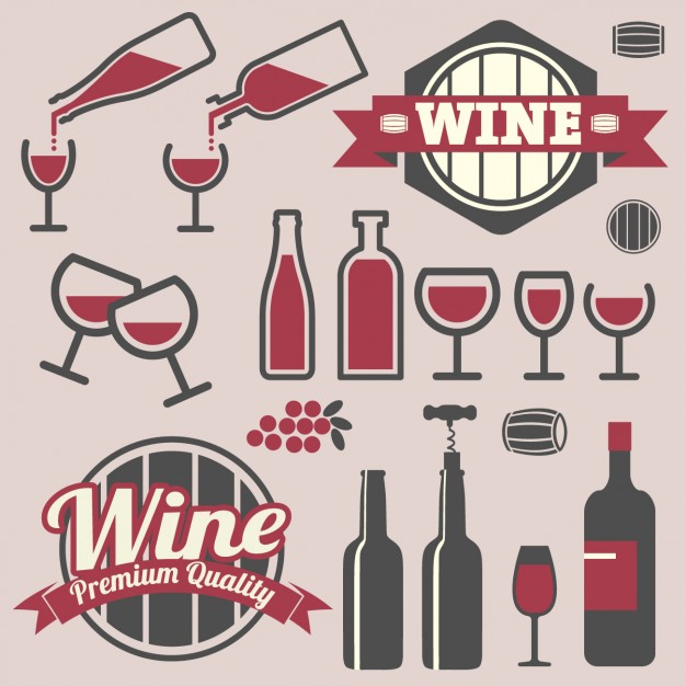 Badges and icons wine design free icon packs UI Download
