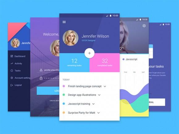 Material Design app template free psd UI Download - Free App Template
