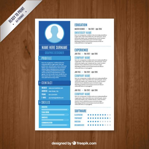 Graphic designer resume template free vectors UI Download