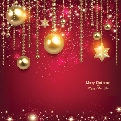 Free vector glowing christmas balls hanging on red elegant
