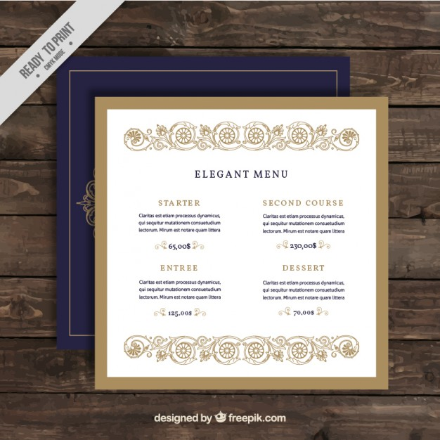 Elegant restaurant menu free vectors UI Download