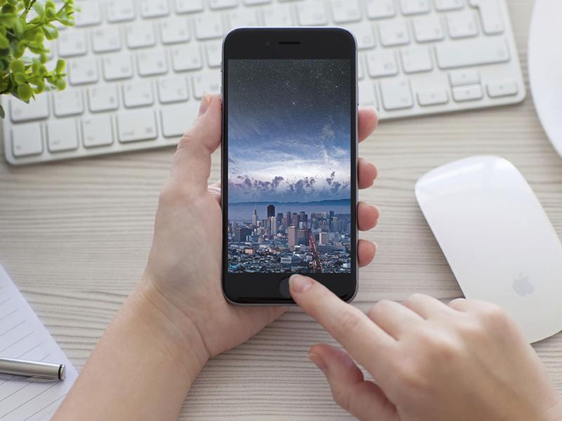 Woman Using IPhone Mockup - Free PSD free psd UI Download