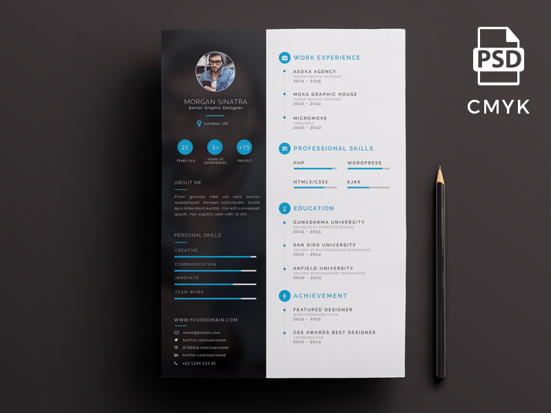 Creative Resume Template free psd UI Download - graphic design resume template