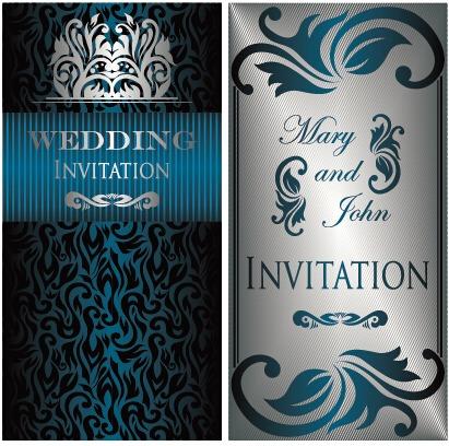 luxurious floral wedding invitations vector design 01 free vectors