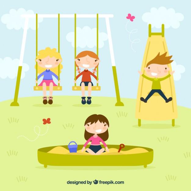 Children playing in the park free vectors UI Download - cartoon children play