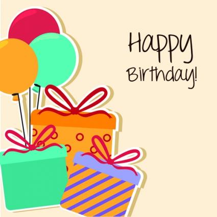 Cartoon style happy birthday greeting card template free vectors - birthday card template