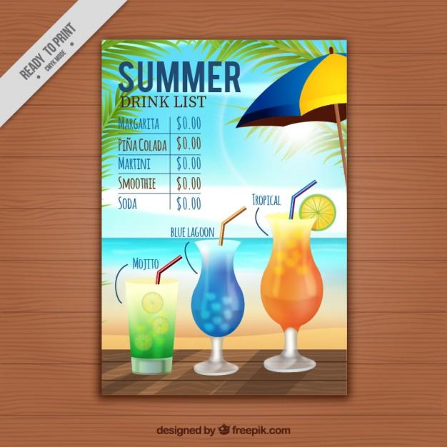 Summer drink list template free vectors UI Download