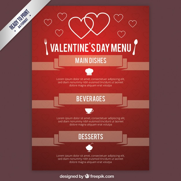 Valentines day menu in red color free vectors UI Download - valentines day menu template