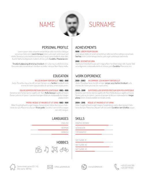 Creative resume template design vectors 01 free vectors UI Download - interesting resume template
