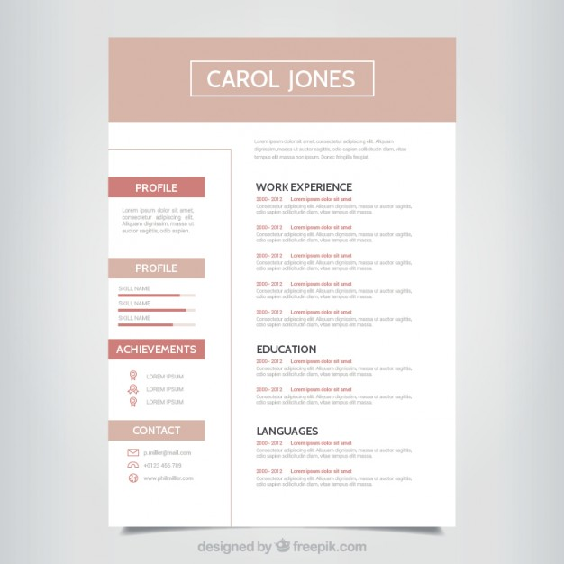 Simple professional resume template free vectors UI Download