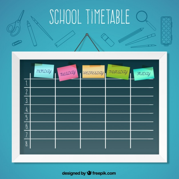 School timetable with post-it free vectors UI Download