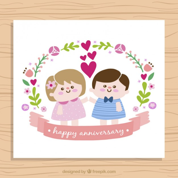 Nice children couple anniversary card free vectors UI Download