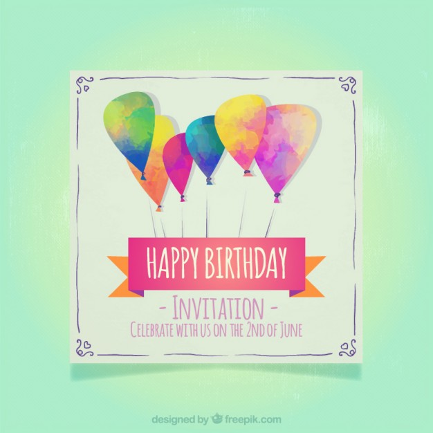 Modern watercolor balloons birthday invitations free vectors UI