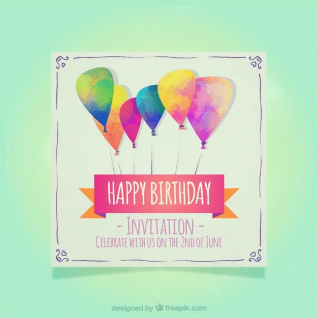 Modern watercolor balloons birthday invitations free vectors UI