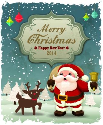 Vintage cartoon santa background vector free vectors UI Download