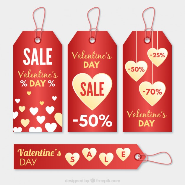 Valentine day sale tags free vectors UI Download - sale tag template
