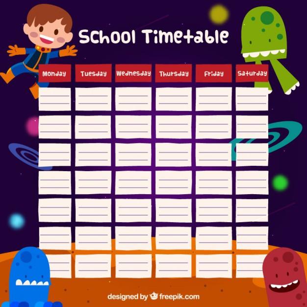 School timetable space design free vectors UI Download