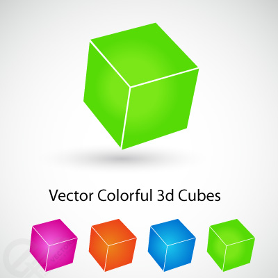 Vector Colorful 3d cubes free vectors UI Download
