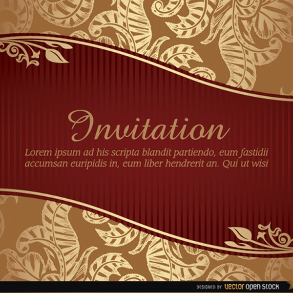 Marriage Invitation Vector with Ribbon free vectors UI Download