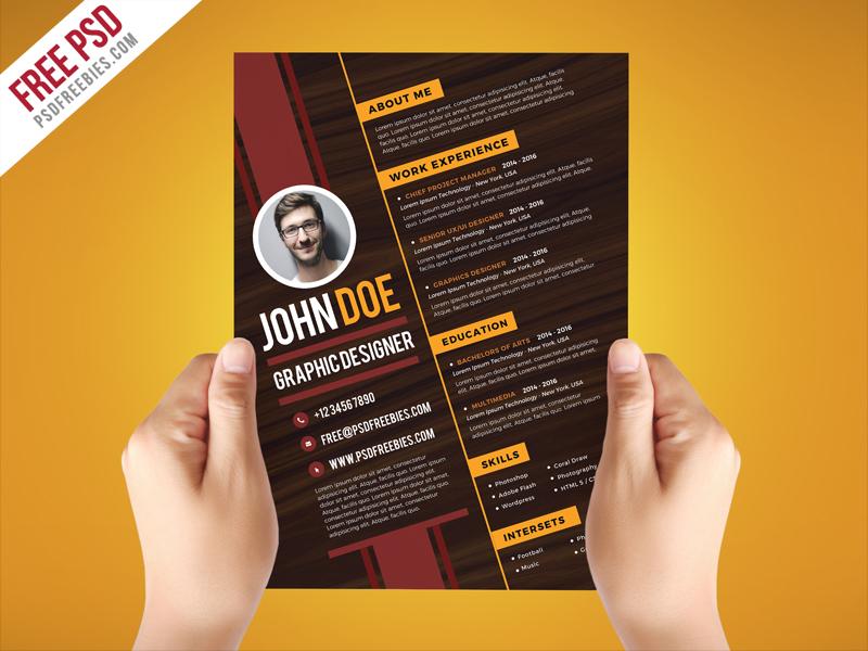 Free PSD  Creative Graphic Designer Resume Template PSD free psd - resume template designs