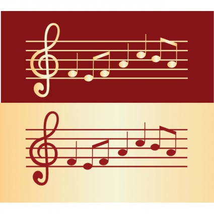 Vector glossy golden music notes on staves free vectors UI Download