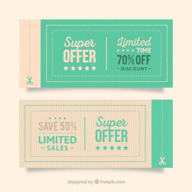 Offer coupons free vectors UI Download - discount coupon template
