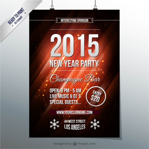 New yearu0027s eve party poster free vectors UI Download - new year poster template