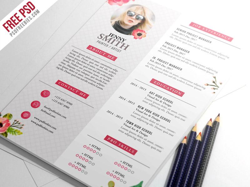 Free PSD  Painter Artist CV Resume Template PSD free psd UI - resume template psd