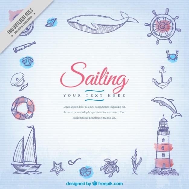 Sketches sailor elements background free vectors UI Download - background sketches