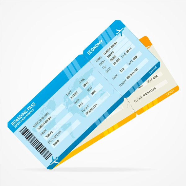 Airline tickets template design vector 01 free vectors UI Download - airplane ticket template