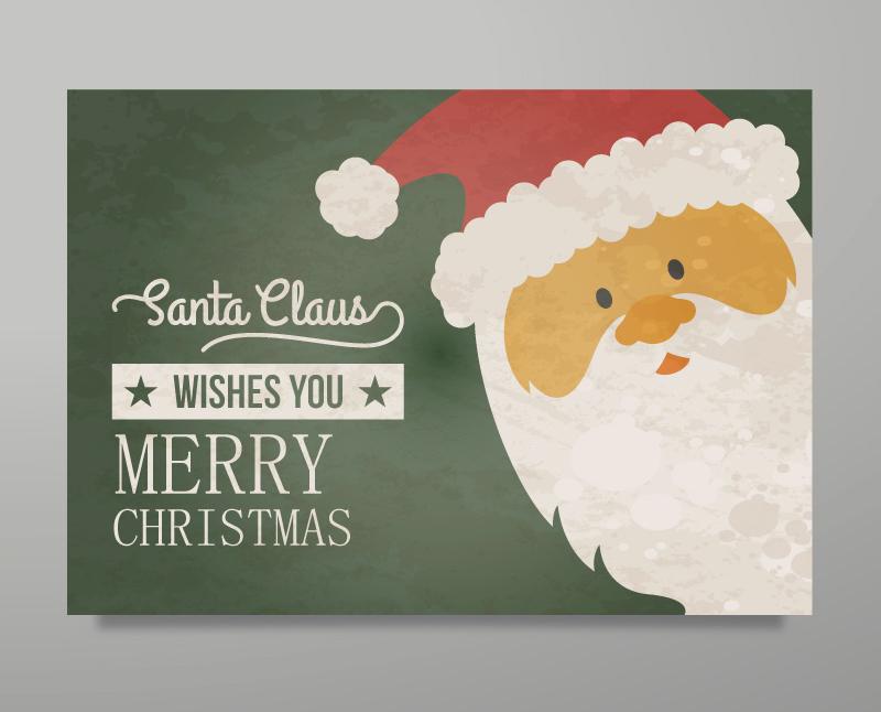 Vintage Santa Claus greeting card vector material free vectors