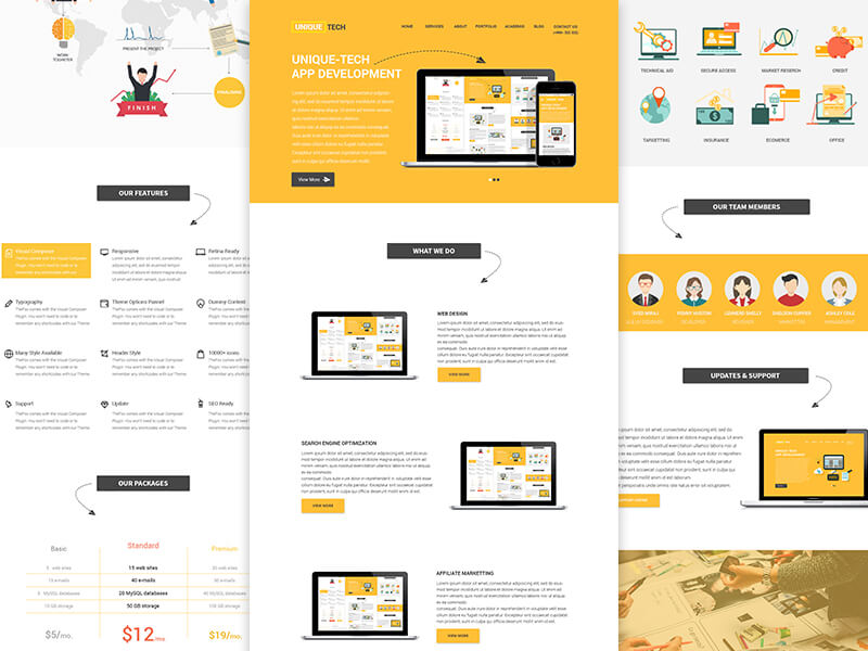 Corporate Yellow Website Template Sketch App Free PSDs  Sketch - app templates free