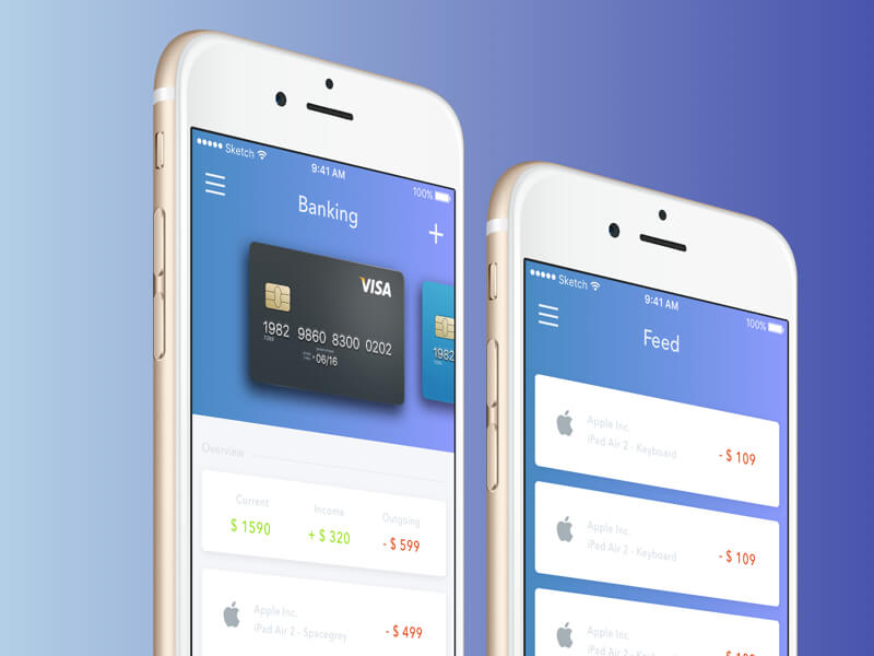 Banking UI Sketch App Free PSDs  Sketch App Resources for