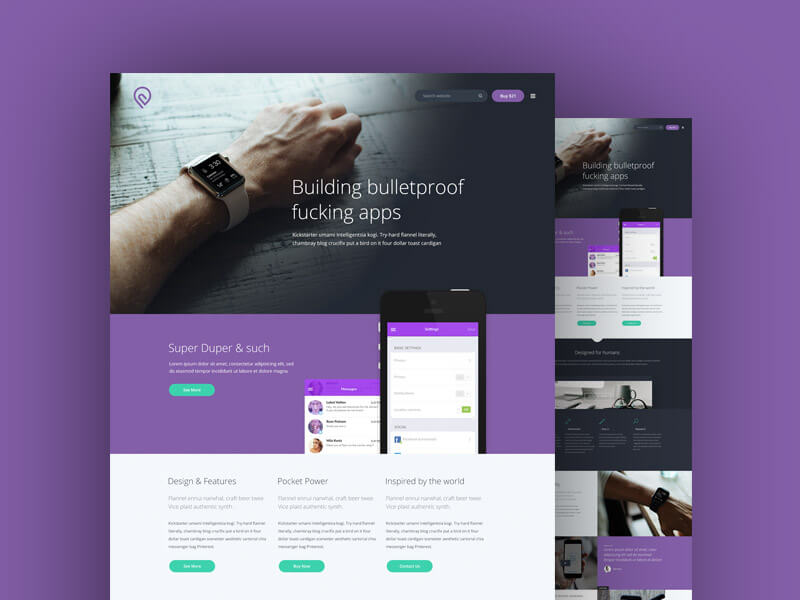 Purple Website Template PSD Free PSDs  Sketch App Resources for - app templates free