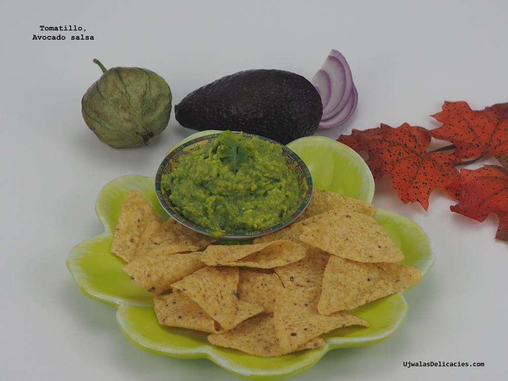 Tomatillo, avocado dip