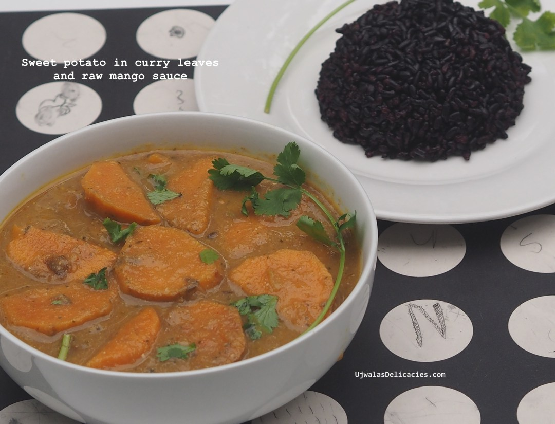 Sweet potato in curry leaf and raw mango gravy