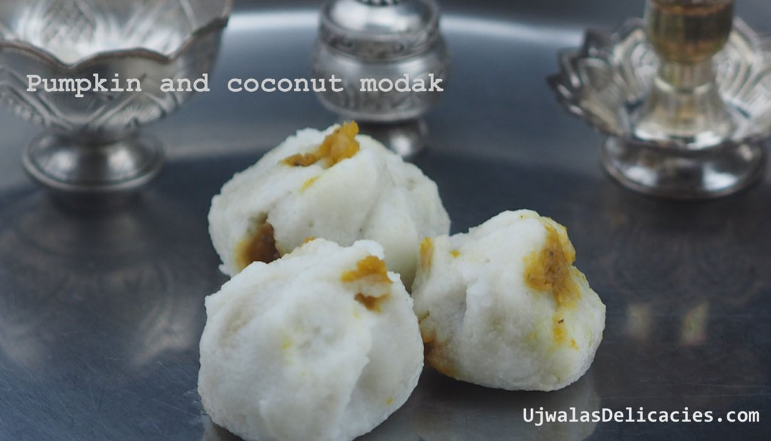 Pumpkin, coconut stuffed modak