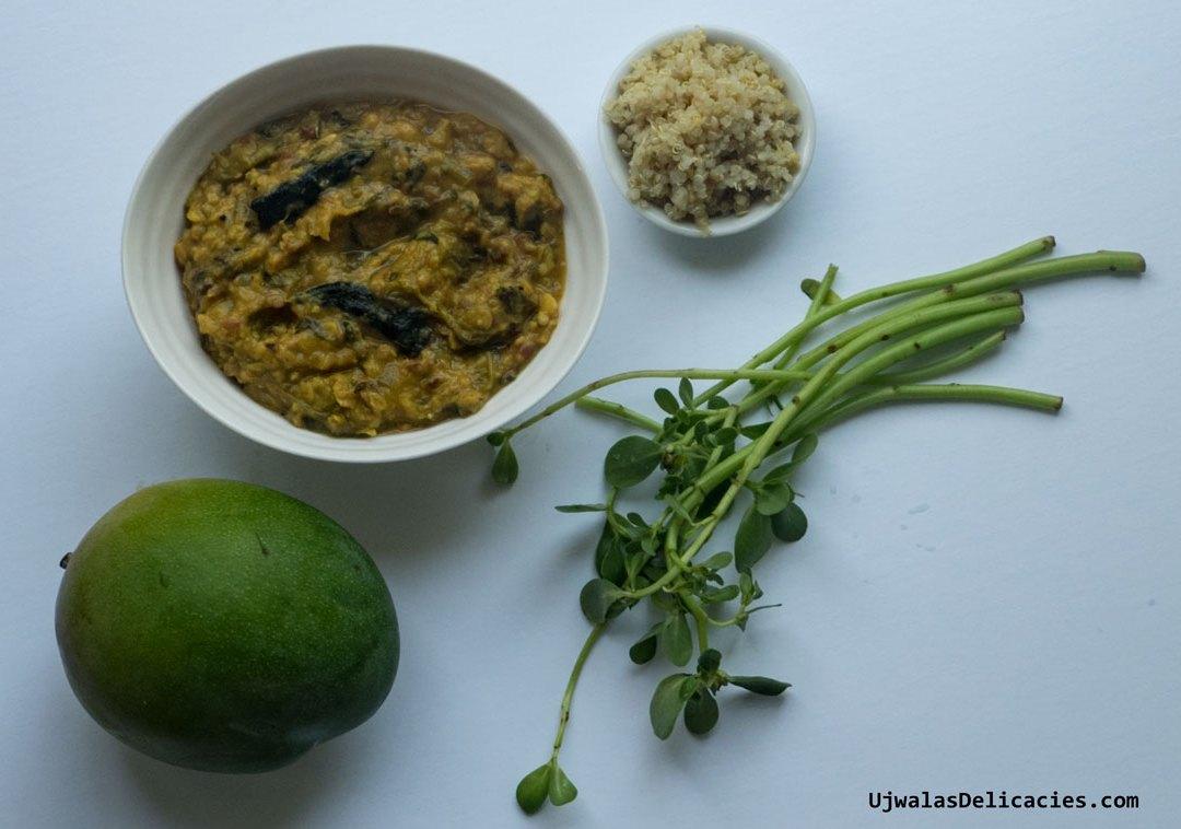 Purslane with mung lentils