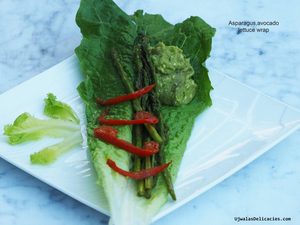 Asparagus Avocado Lettuce Wraps