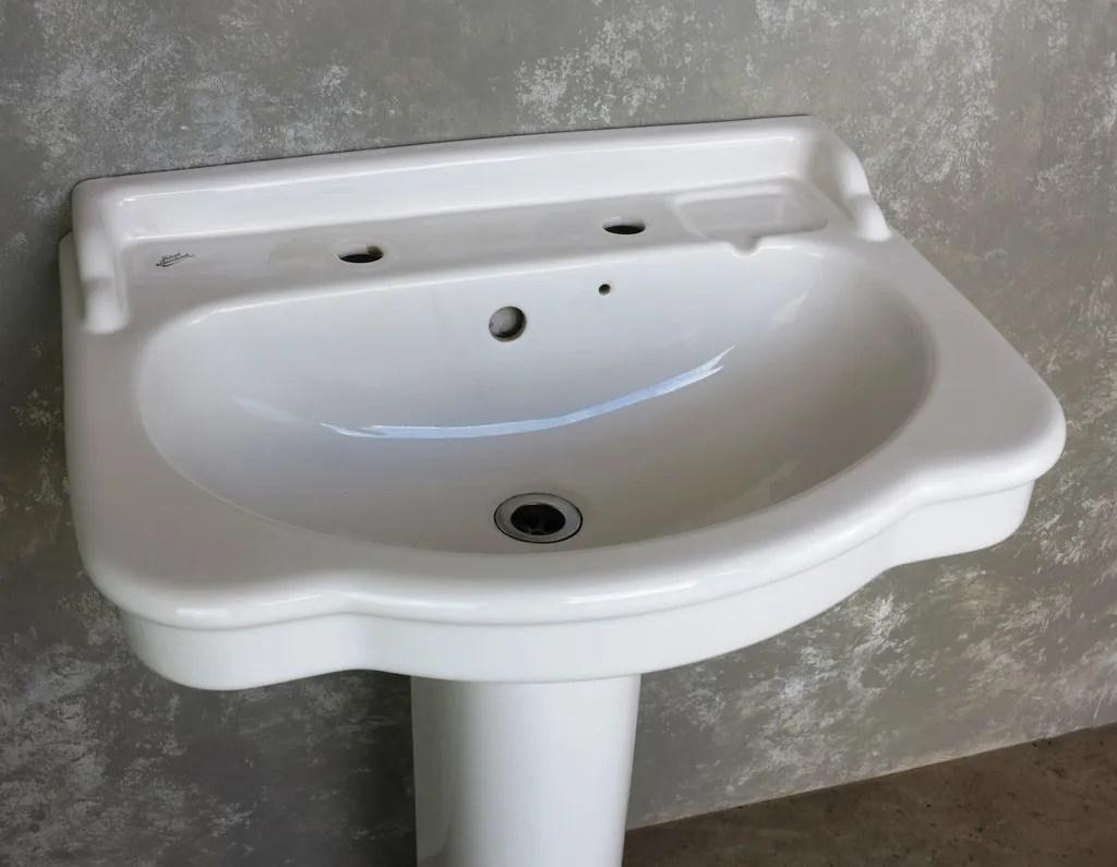 Reclaimed White Indoor Bathroom Sink On A Pedestal Base