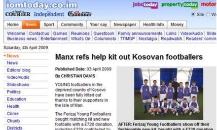 Ishulli Man ndihmon futbollistët kosovarë