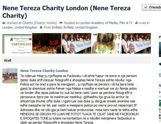 Lajmerimi i Shoqates Nene Tereze ne Facebook