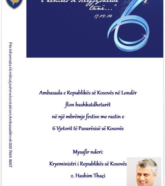 <!--:sq-->Kryeministri i Kosoves, z. Hashim Thaçi, do të takohet me bashkëtdhetarët tanë në Londër me 24 shkurt 2014<!--:-->