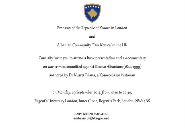 A book launch in London on war crimes committed against Kosovo Albanians (1844-1999), 29th September 2014