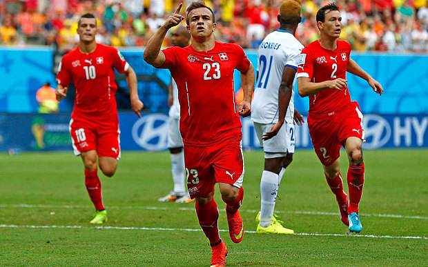 Xherdan Shaqiri after scoring for Switzerland against Honduras at the World Cup