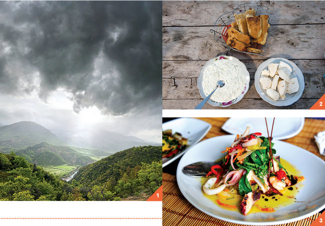 1Gjirokastër's dramatic landscape is framed by the Gjerë mountains. / Courtesy DDP Images. 2A northern Albanian feast in Theth: goat cheese, tzatziki (yogurt sauce with cucumber) and corn bread. / Courtesy Paolo Della Corte. 3An Adriatic seafood salad (squid, octopus, shrimp, mussels) at Artigiano restaurant in Tirana's fashionable Ish-Blloku neighborhood. / Courtesy Merlin Bakus.