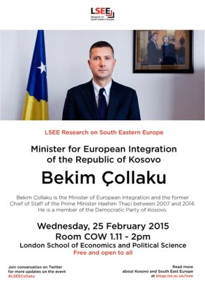 Bekim Çollaku, the Minister of European Integration of the Republic of Kosovo , lecture at the LSE, 25 February 2015